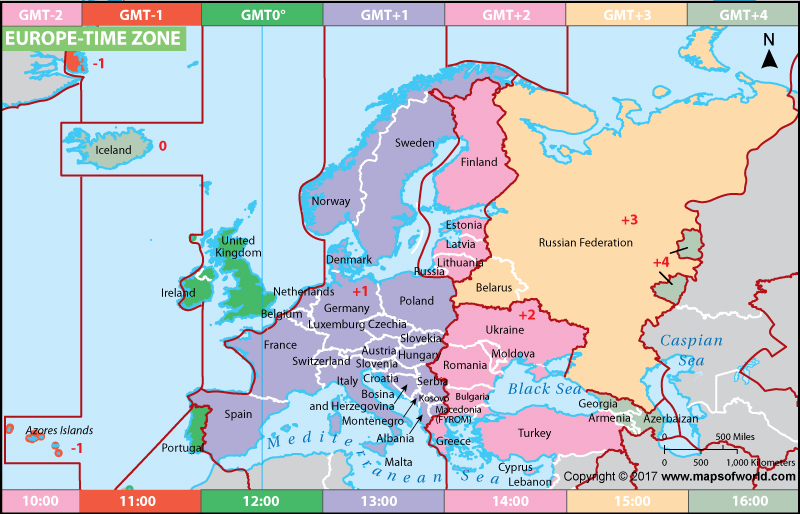 European Time Zone Map